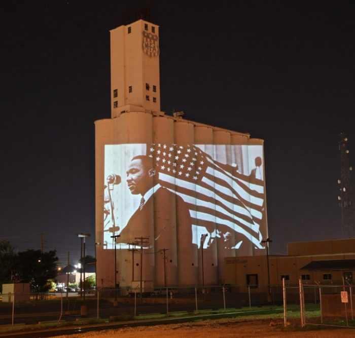 Dr. Martin Luther King Jr. Projections on Historic Silos in IDEA Commons