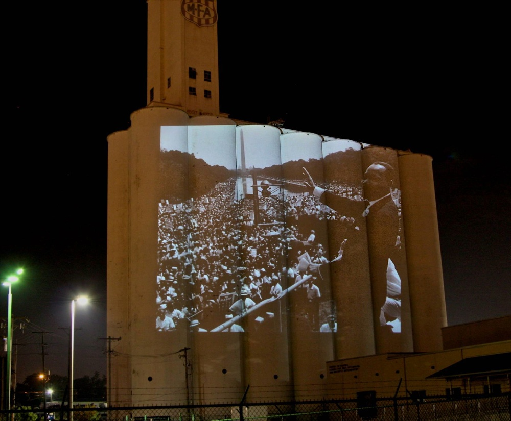 MLK projections on silo, MLK projections on silo