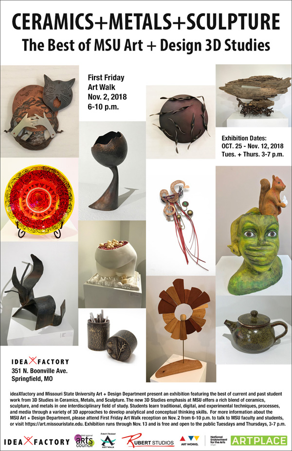 Ceramics + Metals + Sculpture: The Best of MSU Art+Design 3D Studies